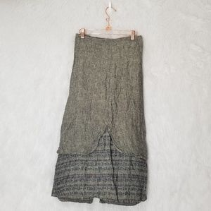 Flax Petite Army Green Maxi Skirt With A Overlay